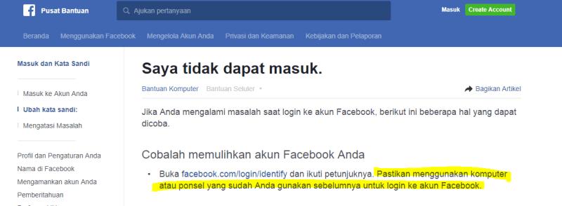 Cara reset sandi facebook yang lupa dengan nomer HP