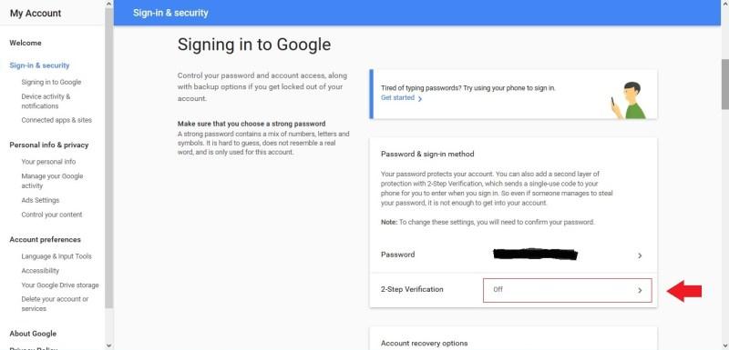Klik 2-Step Verification untuk membuat verifikasi 2 langkah pada akun Google