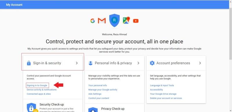 Sign-in and security untuk membuat verifikasi 2 langkah akun Google