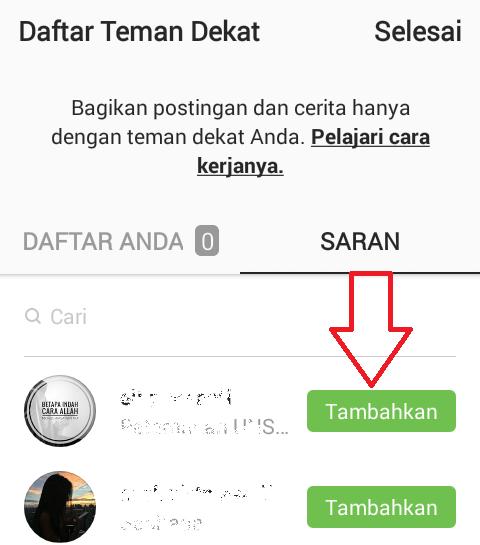 posting instagram orang tertentu