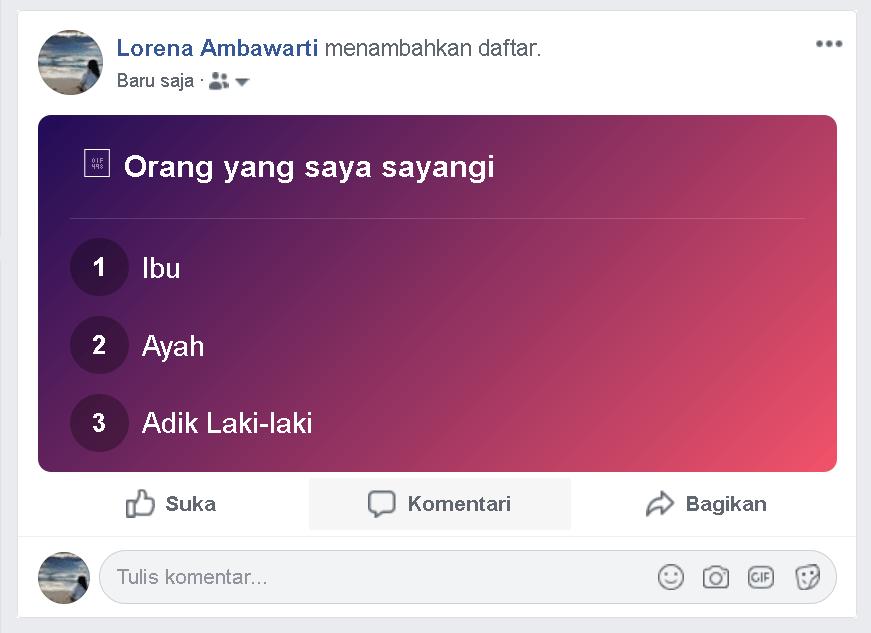 """Cara membuat status """"daftar/list"""" di facebook"""
