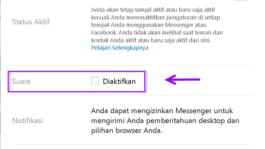 Cara mematikan suara notifikasi pesan Facebook