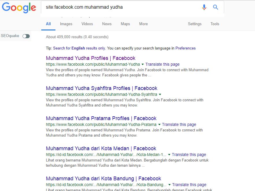contoh mencari seseorang lewat google