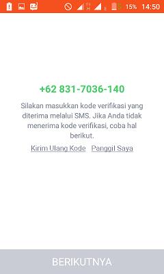 Proses verifikasi nomor telepon line lite