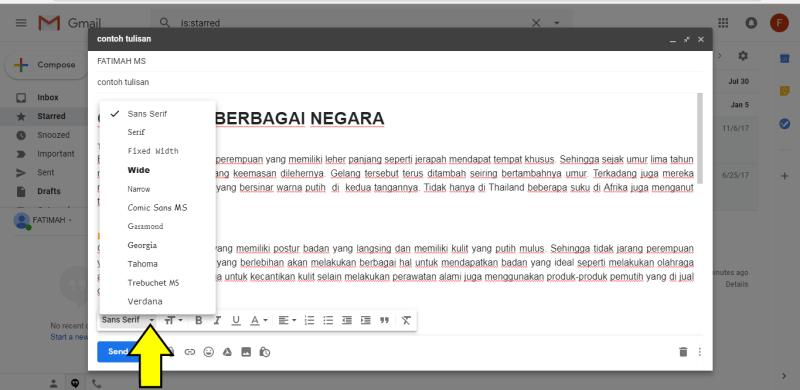 Pilihan format huruf gmail di destop