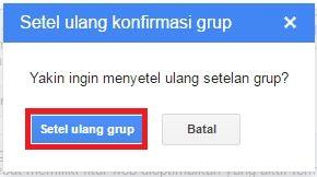 Halaman konfirmasi penyetelan ulang grup