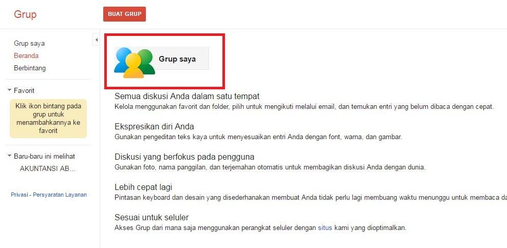 Tampilan saat ingin membuka daftar grup pada Google Groups
