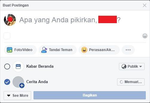 Tampilan saat ingin membuat stories di Facebook