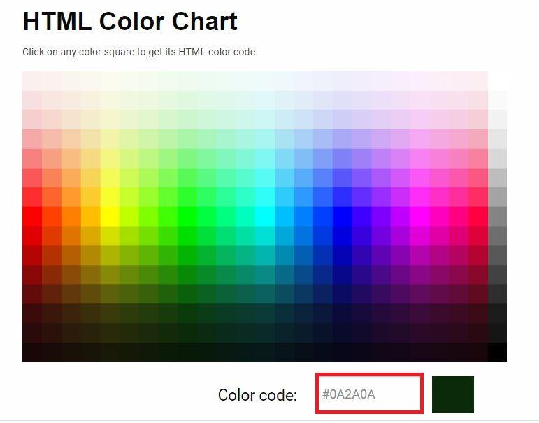 """""""HTML Color Chart"""" untuk memilih warna dan kode warna"""