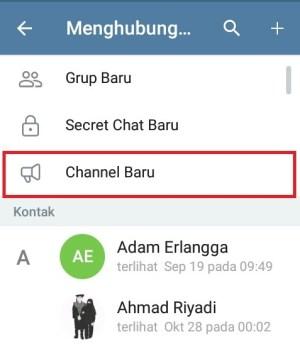 """Pilih """"Channel Baru"""" untuk membuat channel di Telegram"""