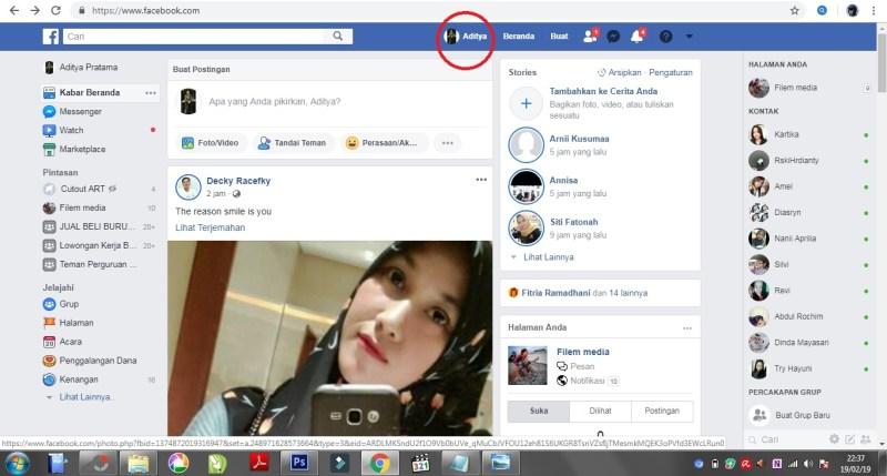 Tampilan beranda pada facebook.