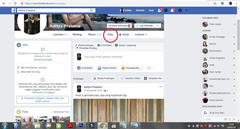 Tampilan profil pada facebook.