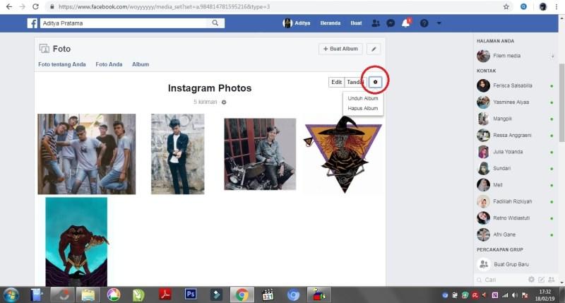 Tampilan icon setting pada  album foto facebook.
