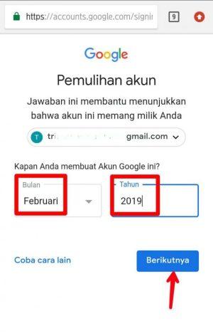 Pilih bulan dan masukkan tahun pembuatan akun gmail kamu