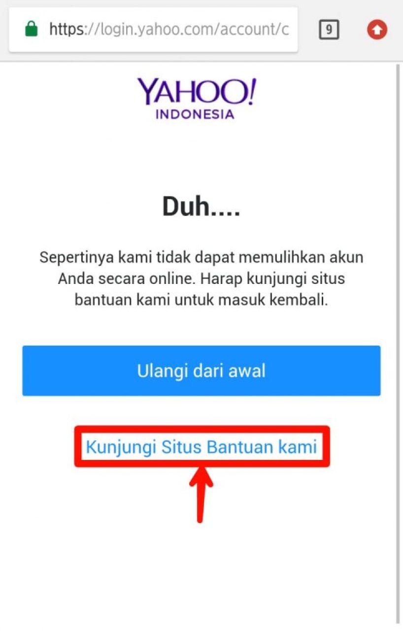 Laman konfirmasi kunjungi situs bantuan Yahoo