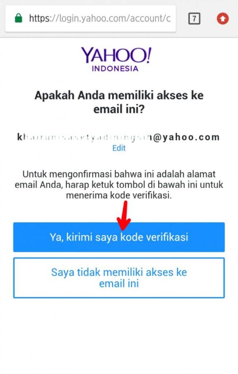 Gambar 3. Ketuk kirim saya kode verifikasi, lalu ketik kode yang masuk di inbox email, kemudian lanjutkan