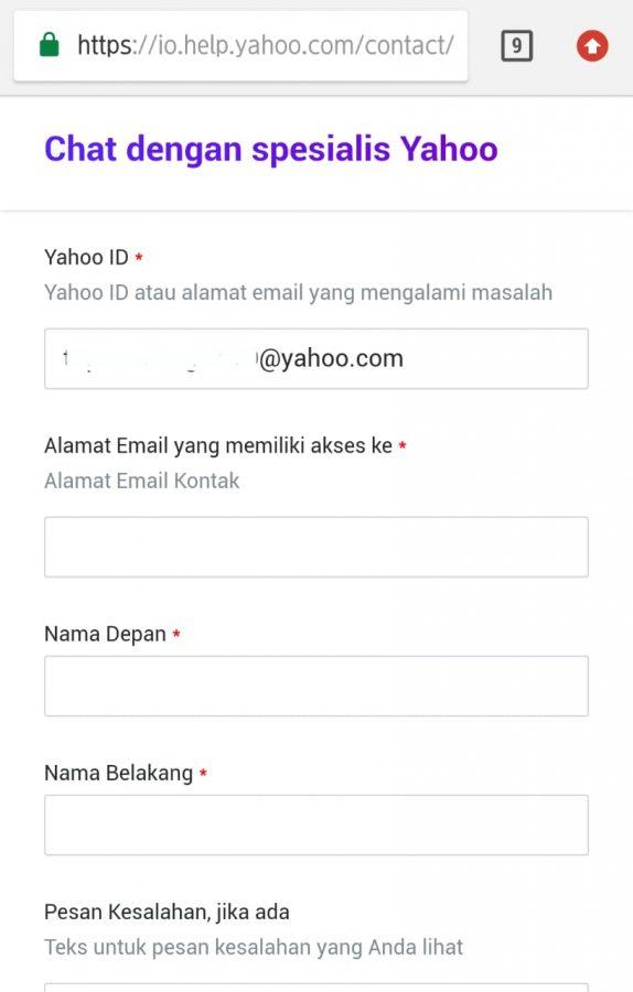 Bantuan chat dengan spesialis Yahoo