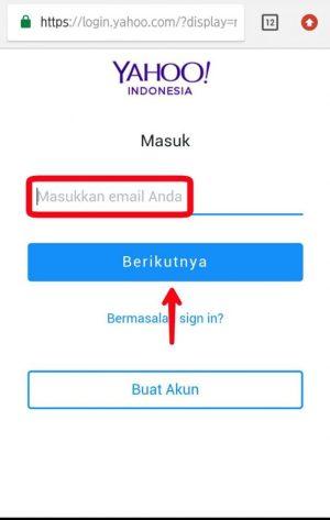 Masukkan alamat email Yahoo
