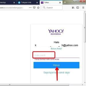 Masukkan kata sandi/password email Yahoo