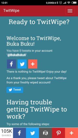 Laman penghapusan twit di twitwipe.com