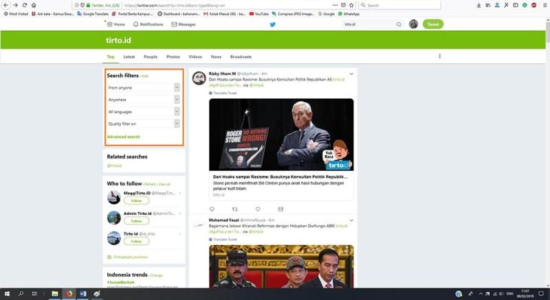 Laman pencarian di Twitter