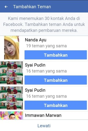 Hasil pencarian akun Facebook berdasarkan kontak