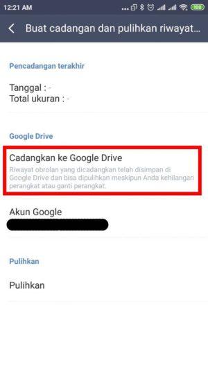 klik cadangkan ke Google Drive
