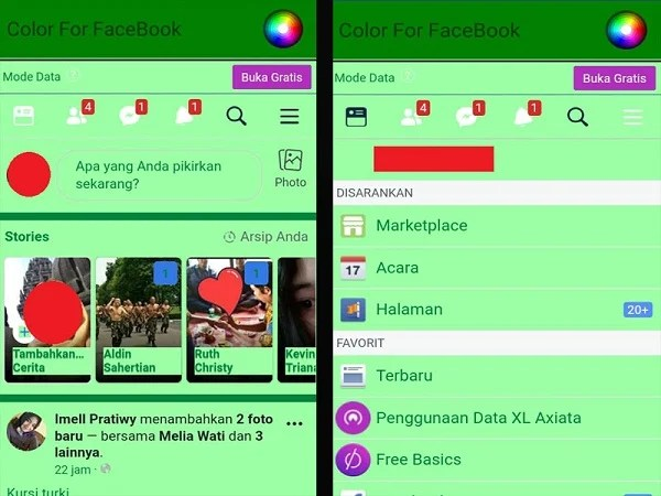 Tampilan Facebook Lite dengan warna tema sesuai pilihan