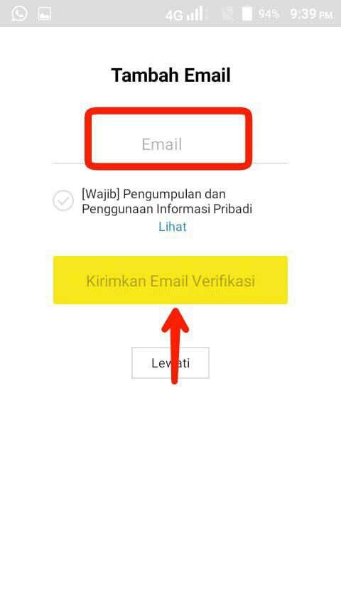 Masukkan email, lalu tap konfirmasi email verifikasi