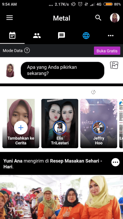 tampilan dark mode metal facebook
