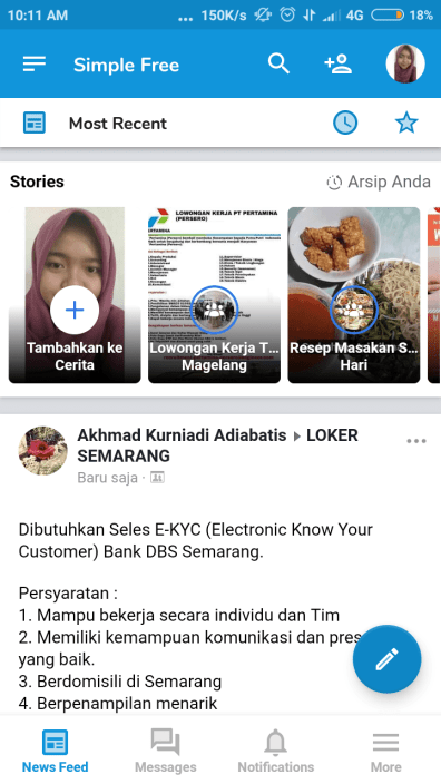 halaman depan simple facebook