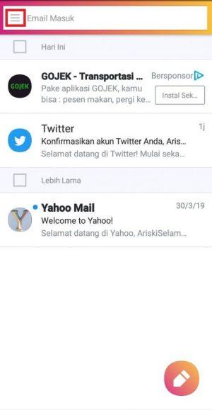 Tampilan aplikasi Yahoo Mail saat sudah login