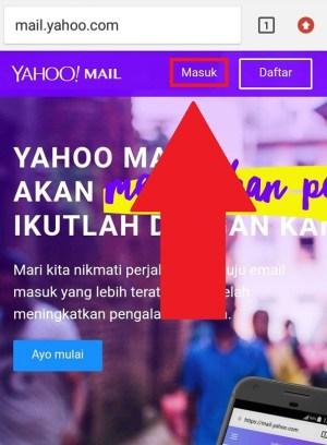 Halaman awal Yahoo mail versi web browser