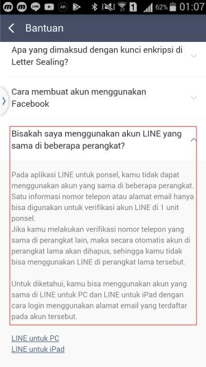 Laman bantuan Line menyebutkan tidak mengizinkan pengguna untuk login satu akun Line di 2 HP bersamaan.