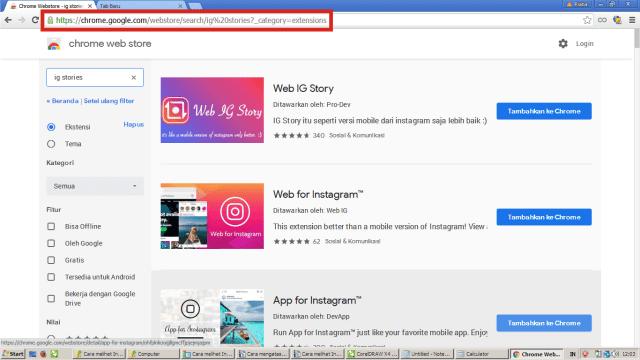 Buka Chrome, dan ketik web google chrome store.