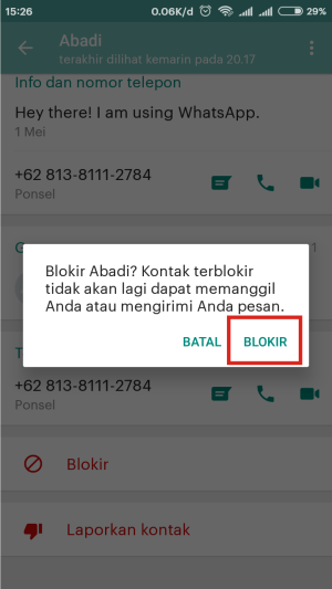 Tab blokir lagi untuk memastikan nomor admin terblokir.