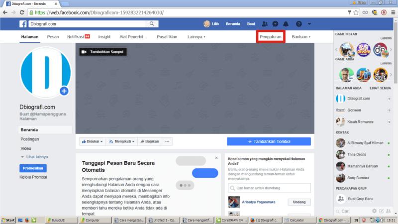 Di laman Halaman/Fanpage, klik pengaturan.
