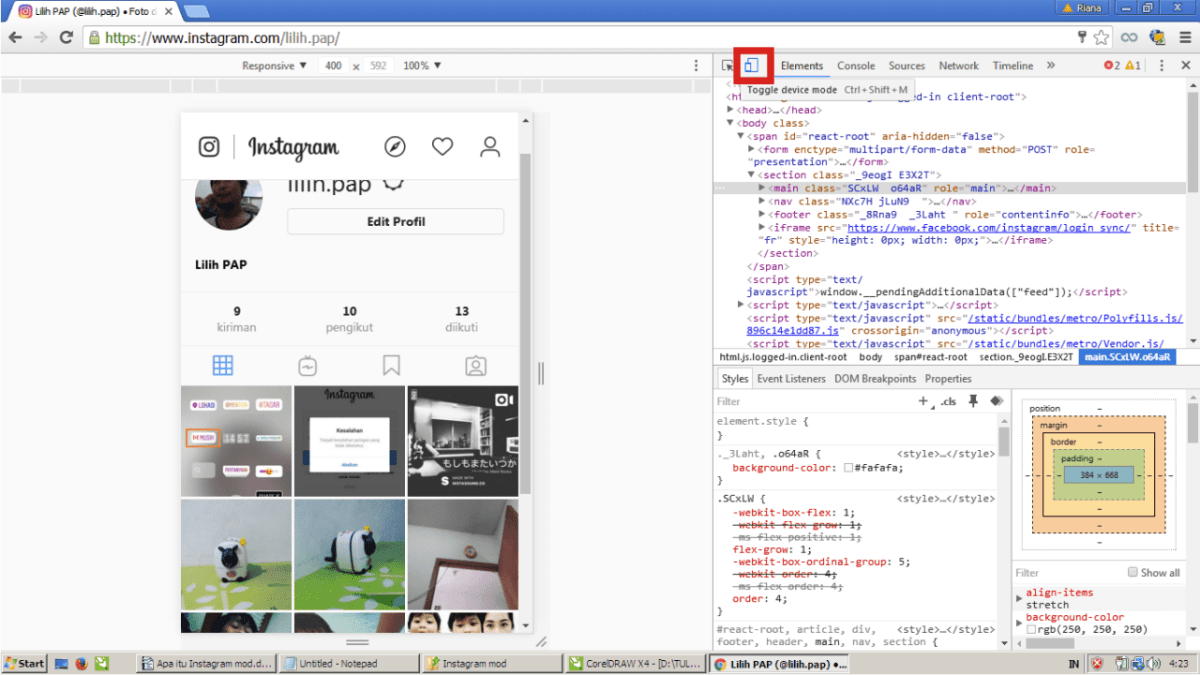 Kamu bisa klik toggle device mode.