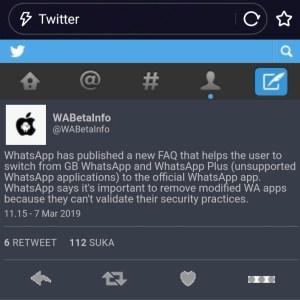 Cuitan WABetaInfo mengenai pelarangan Whatsapp Mod