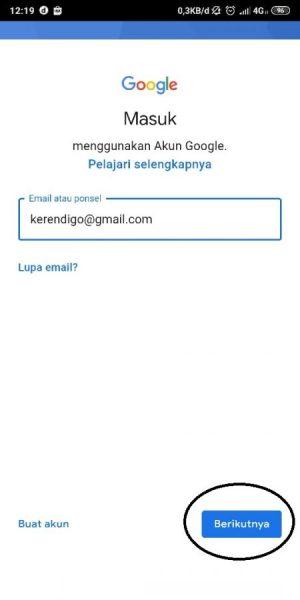 Masukkan Email Lalu Pilih Next