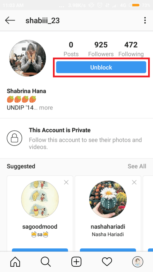 "pada halaman profil, tap ""unblock"" button"
