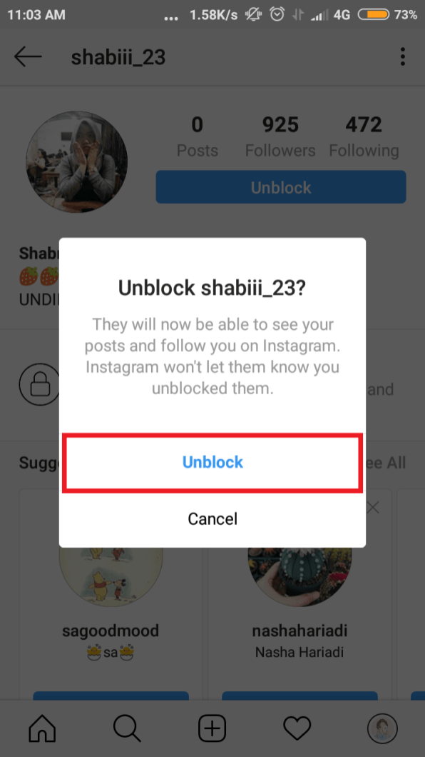 """tap """"unblock"""" pada dialog box"""