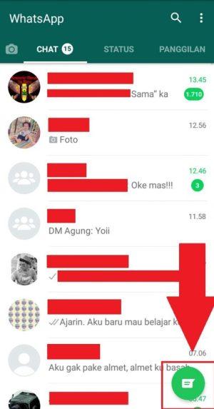 Tampilan halaman awal aplikasi Whatsapp