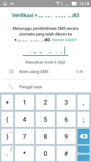 Masukkan kode verifikasi yang telah dikirim via SMS tadi