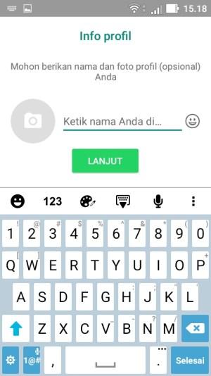 masukkan nama dan foto profil whatsapp