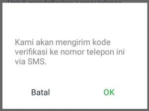 Klik menu OK untuk mengirim kode verifikasinya.