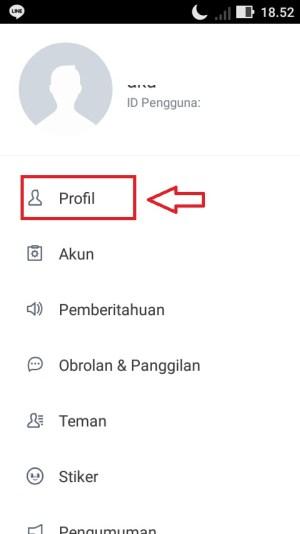 """Pilih menu """"Profil""""."""