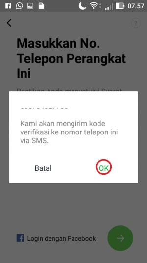 Pilih menu OK pada pesan pop up