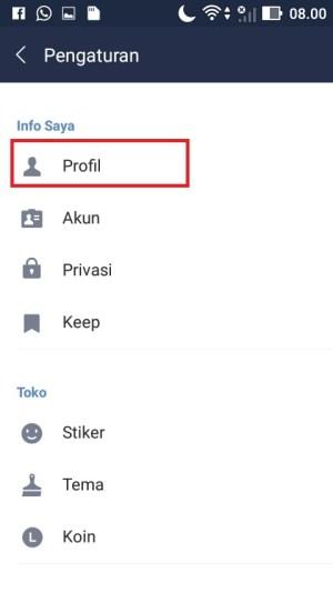pilih menu Profil