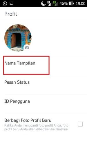 """Untuk mengubah nama tampilan, klik menu """"Nama Tampilan""""."""